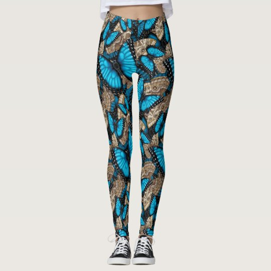 Blue Morpho Butterfly Madness Leggings