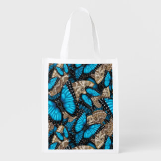 Blue Morpho Butterfly Madness Reusable Grocery Bag