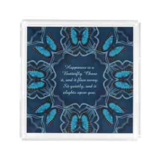 Blue Morpho Butterfly Mandala Acrylic Tray
