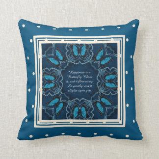 Blue Morpho Butterfly Mandala Throw Pillow