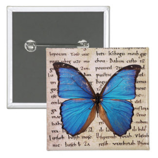 Blue Morpho Butterfly on Book Page 2 Inch Square Button