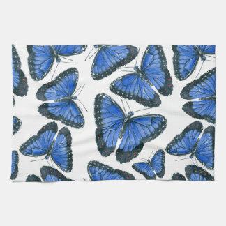 Blue morpho butterfly pattern design kitchen towel