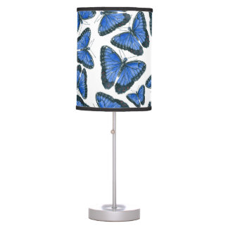 Blue morpho butterfly pattern design table lamp