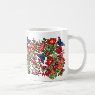 Blue Morpho Butterfly Red Roses Flowers Floral Mug