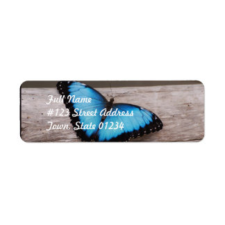 Blue Morpho Butterfly Return Address Label