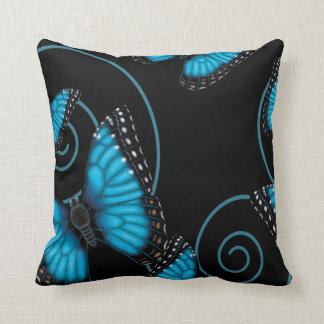 Blue Morpho Butterfly Reversible Throw Pillow