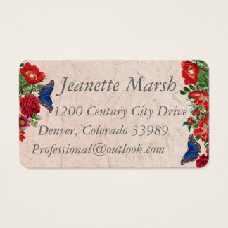 Blue Morpho Butterfly Rose Flowers Business Cards
