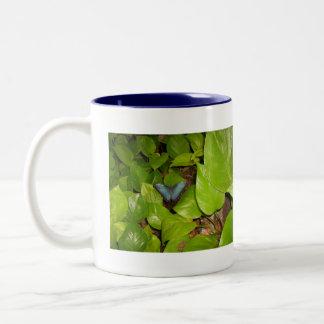 Blue Morpho Butterfly Two-Tone Coffee Mug
