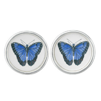 Blue Morpho butterfly watercolor painting Cufflinks