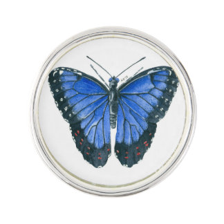Blue Morpho butterfly watercolor painting Lapel Pin