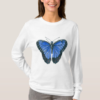 Blue Morpho butterfly watercolor painting T-Shirt