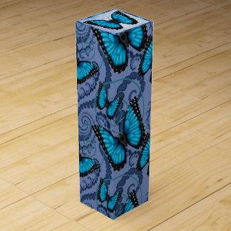 Blue Morpho Butterfly Wine Gift Box