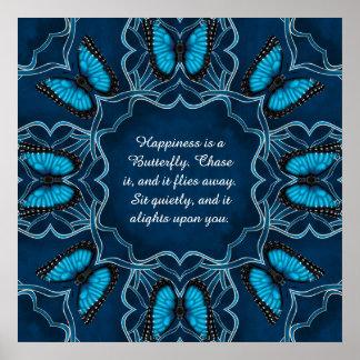 Blue Morpho Mandala Poster