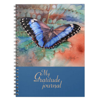 Blue Morpho Watercolor Gratitude Journal Spiral Note Book