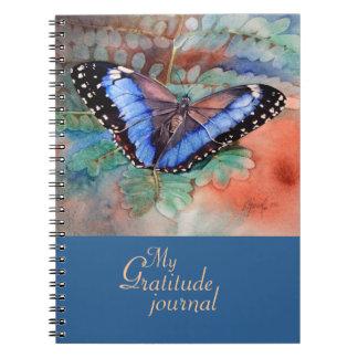 Blue Morpho Watercolor Gratitude Journal Spiral Note Book