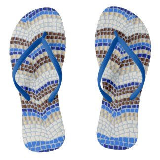 Blue Mosaic Adult Slim Straps Flip Flops