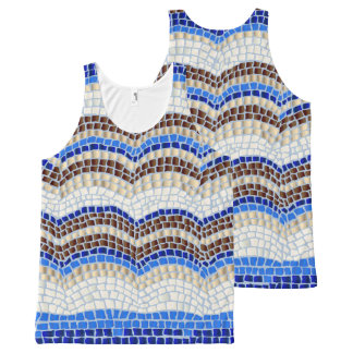Blue Mosaic All-Over Printed Tank Top