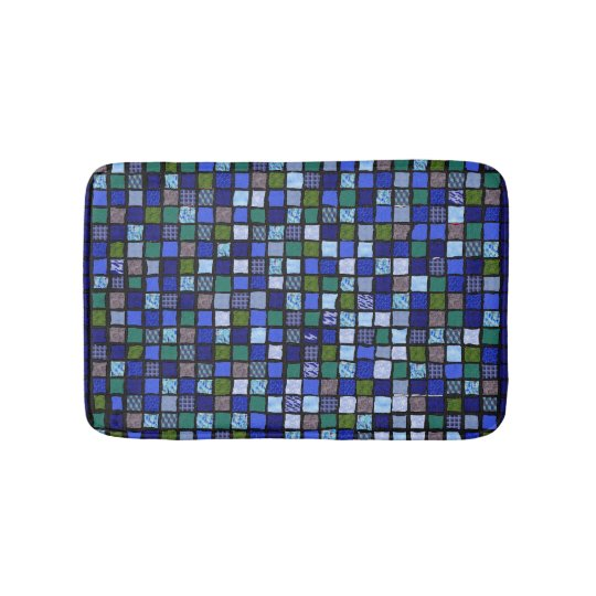 Blue Mosaic Bathroom Mat
