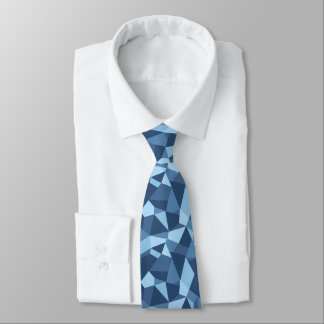 Blue mosaic crazy patchwork geometric tie