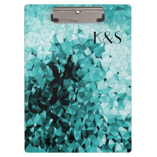 Blue Mosaic Customizable Company Name Initials Clipboard
