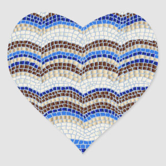 Blue Mosaic Glossy Heart Sticker
