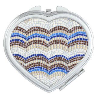 Blue Mosaic Heart Compact Mirror