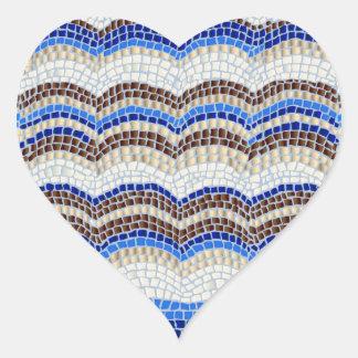 Blue Mosaic Matte Heart Sticker