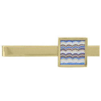 Blue Mosaic Modern Tie Bar Gold Finish Tie Bar