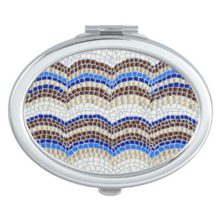Blue Mosaic Oval Compact Mirror