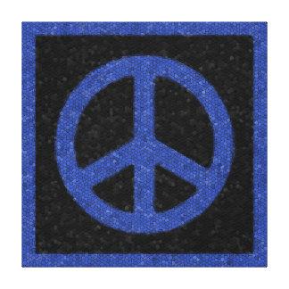 Blue Mosaic Peace Sign Canvas Prints