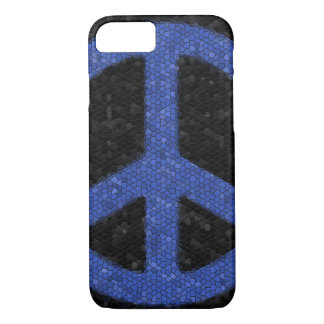 Blue Mosaic Peace Sign iPhone 7 Case