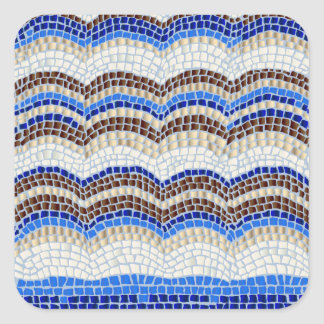 Blue Mosaic Small Glossy Square Sticker
