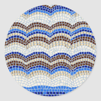 Blue Mosaic Small Matte Round Sticker