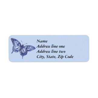 Blue Mosaic Stained Glass Butterfly Return Address Label