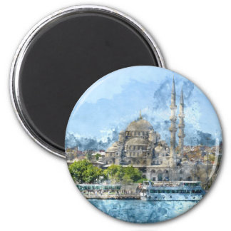 Blue Mosque in Istanbul Turkey 2 Inch Round Magnet