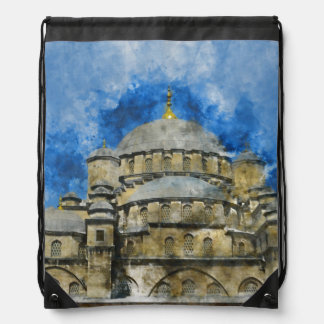 Blue Mosque in Istanbul Turkey Drawstring Bag