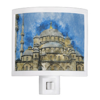 Blue Mosque in Istanbul Turkey Night Lights