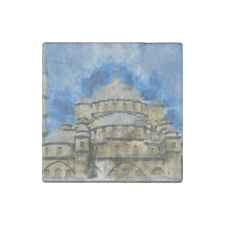 Blue Mosque in Istanbul Turkey Stone Magnets
