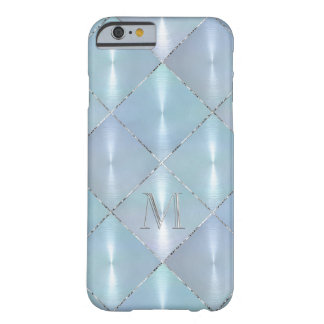 Blue Mother of Pearl with Silver Monogram Barely There iPhone 6 Case