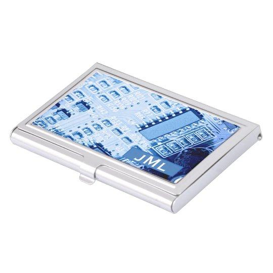 Blue Motherboard Modern Pattern Business Card Holder