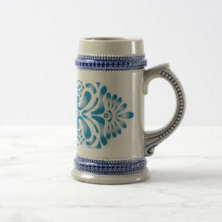 Blue motif print 18 oz beer stein