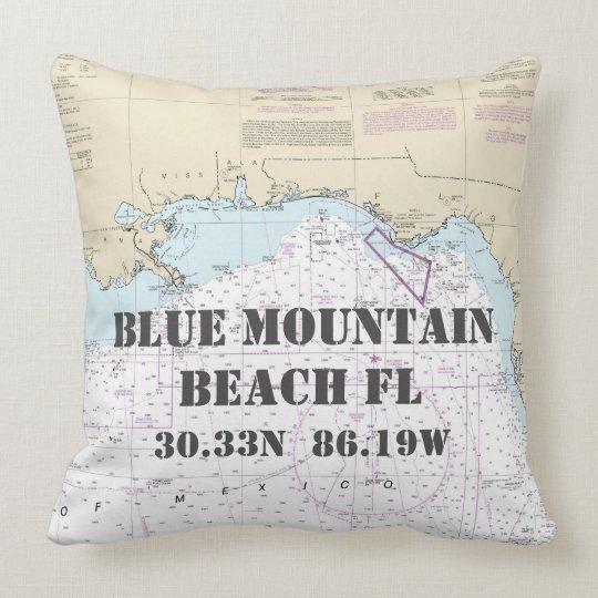Blue Mountain Beach FL Nautical Chart CUSTOM ORDER Throw Pillow