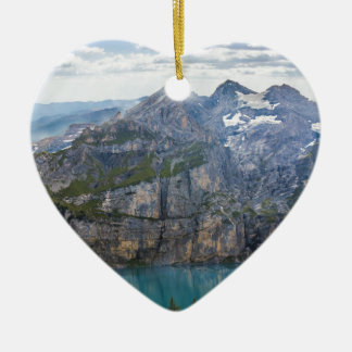 Blue mountain lake  oeschinen pond in nature ceramic heart ornament
