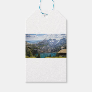 Blue mountain lake  oeschinen pond in nature pack of gift tags