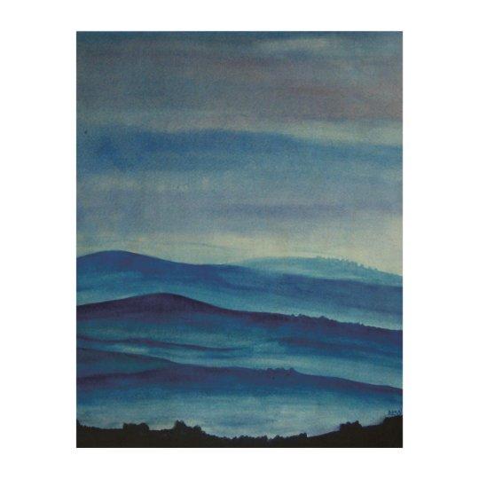 Blue Mountain Landscape Wood Wall Art