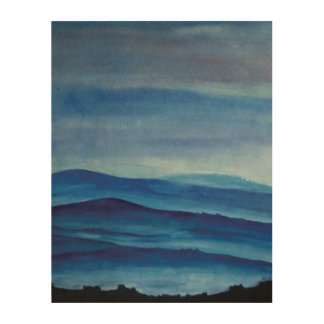 Blue Mountain Landscape Wood Wall Art Wood Canvas