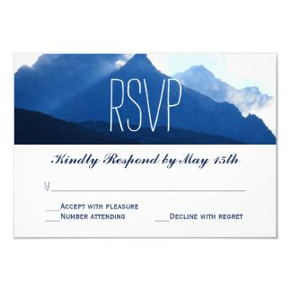 "Blue Mountain Range Silhouette Wedding RSVP Cards 3.5"" X 5"" Invitation Card"
