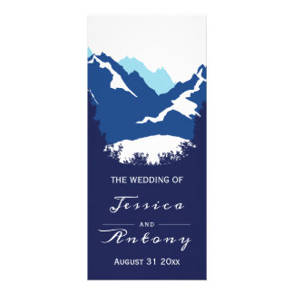 Blue mountains and conifer trees wedding program