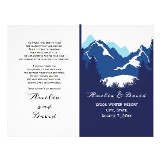 Blue mountains and conifes folded wedding program