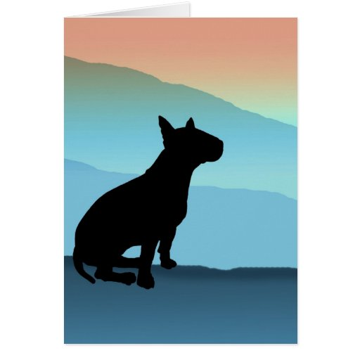 Blue Mountains Bull Terrier Greeting Cards
